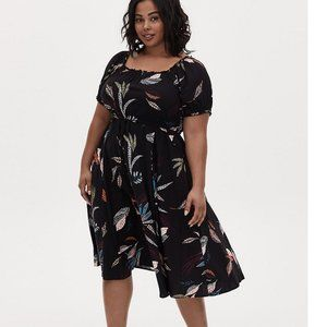 Torrid Black Multi Leaf Challis Peasant Dress 1
